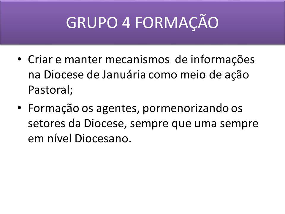 GRUPO 4 FORMAÇÃO Criar e manter mecanismos de informações na Diocese de Januária como meio de ação Pastoral;