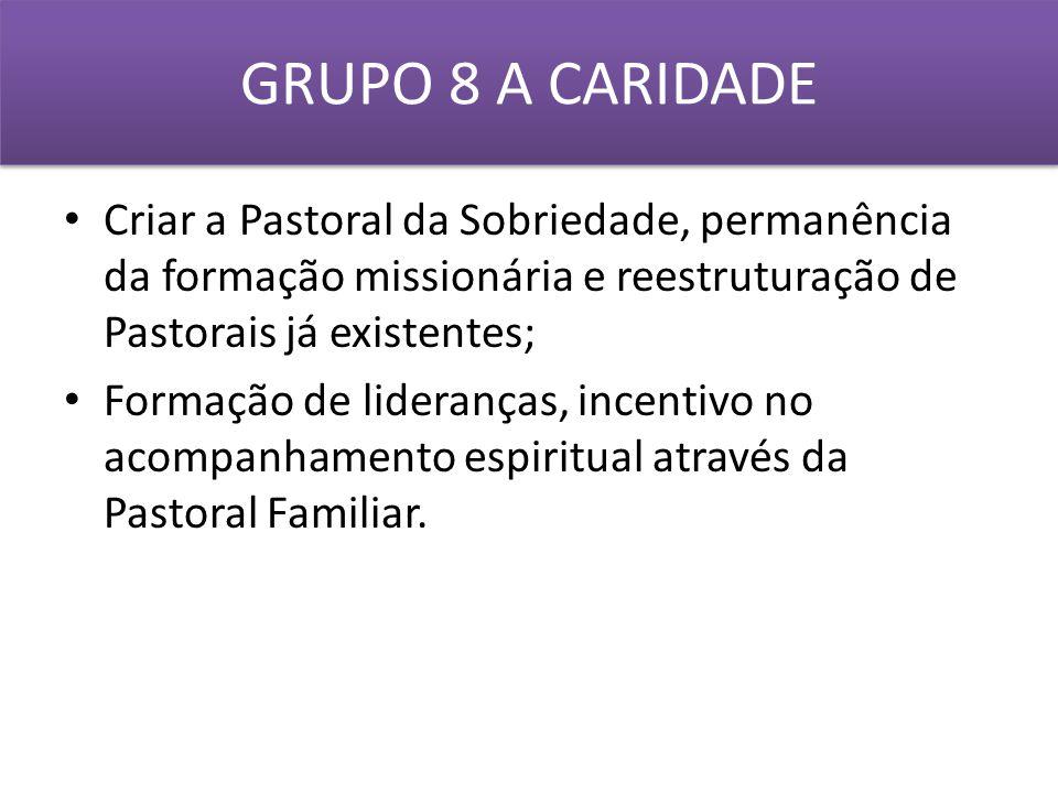 GRUPO 8 A CARIDADE Criar a Pastoral da Sobriedade, permanência da formação missionária e reestruturação de Pastorais já existentes;