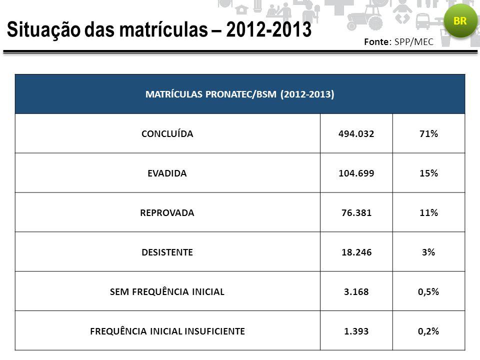 Situação das matrículas – 2012-2013