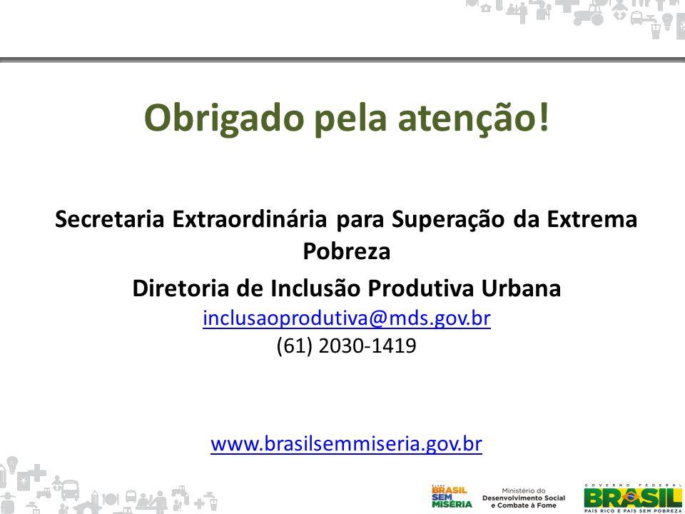 Obrigado pela atenção! Secretaria Extraordinária para Superação da Extrema Pobreza. Diretoria de Inclusão Produtiva Urbana.