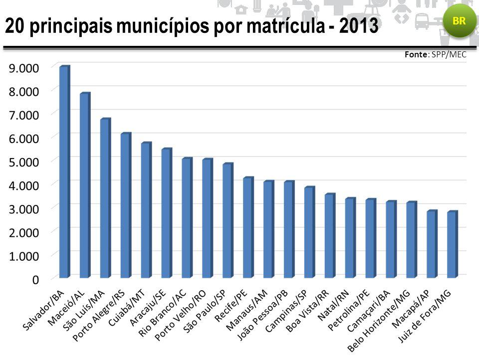 20 principais municípios por matrícula - 2013
