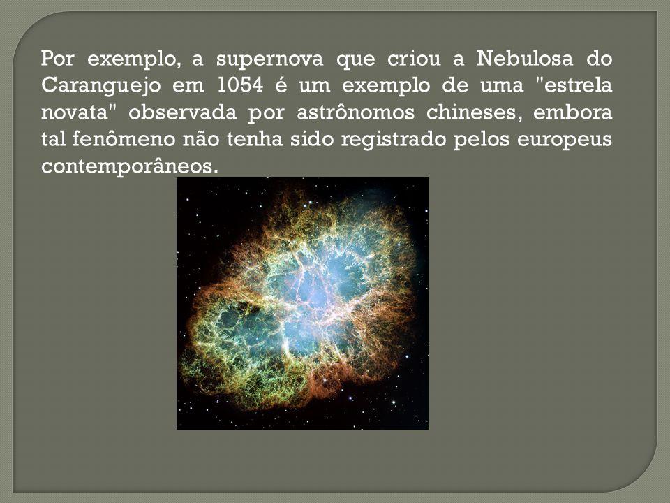 Por exemplo, a supernova que criou a Nebulosa do Caranguejo em 1054 é um exemplo de uma estrela novata observada por astrônomos chineses, embora tal fenômeno não tenha sido registrado pelos europeus contemporâneos.