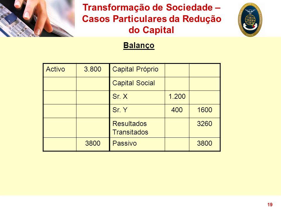 Transformação de Sociedade – Casos Particulares da Redução do Capital