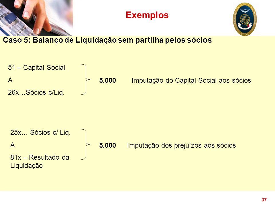 Exemplos Caso 5: Balanço de Liquidação sem partilha pelos sócios