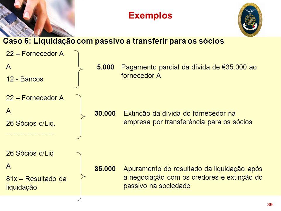 Exemplos Caso 6: Liquidação com passivo a transferir para os sócios