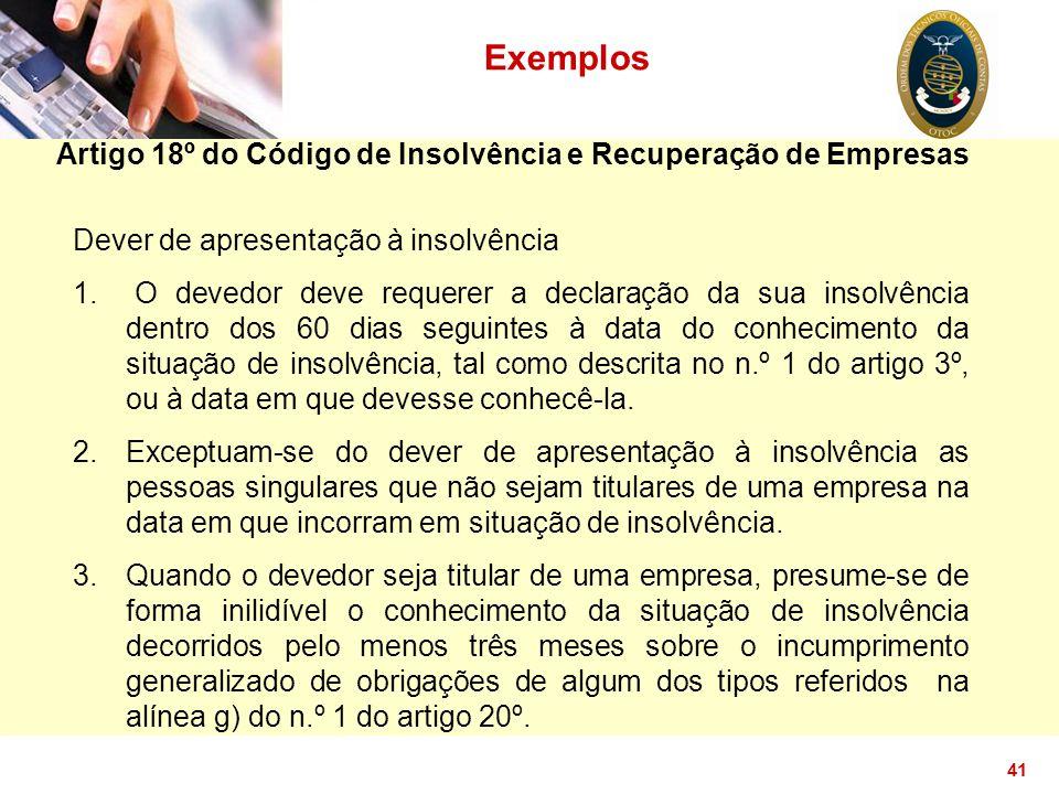 Artigo 18º do Código de Insolvência e Recuperação de Empresas