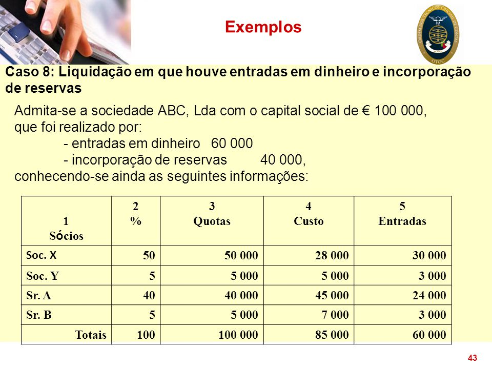 Exemplos Caso 8: Liquidação em que houve entradas em dinheiro e incorporação de reservas.