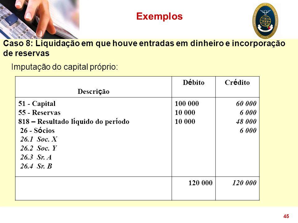 Exemplos Caso 8: Liquidação em que houve entradas em dinheiro e incorporação de reservas. Imputação do capital próprio: