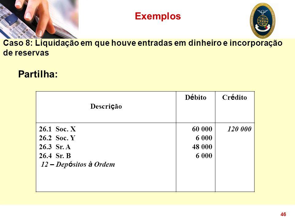 Exemplos Caso 8: Liquidação em que houve entradas em dinheiro e incorporação de reservas. Partilha: