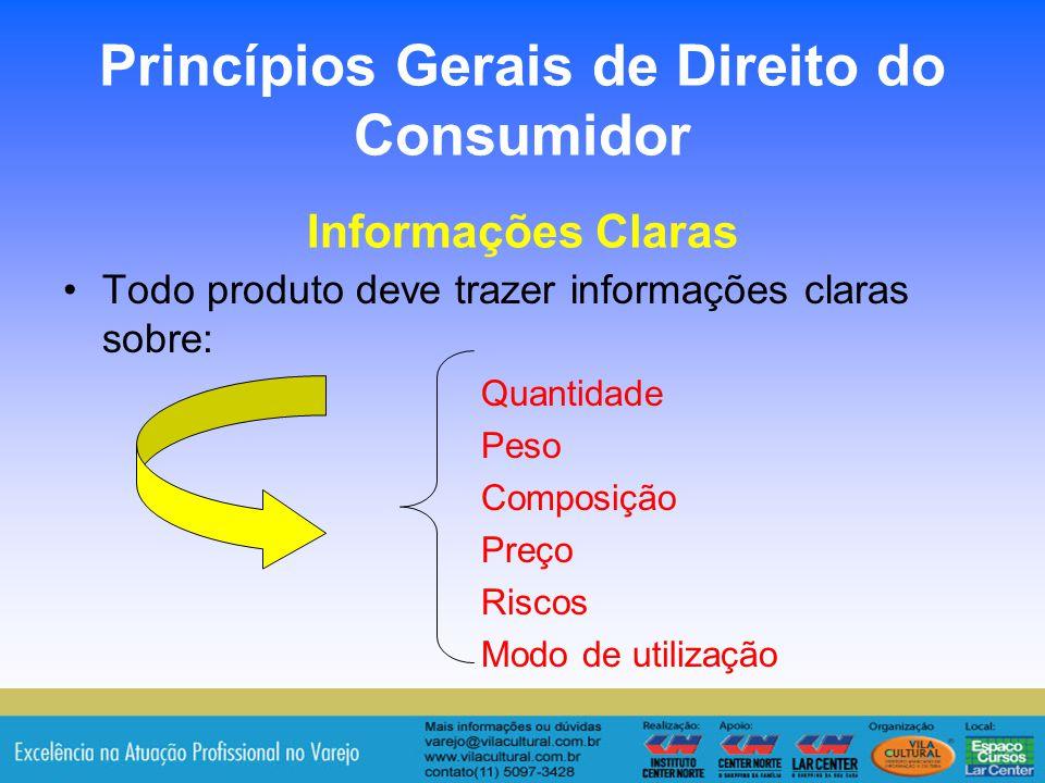 Princípios Gerais de Direito do Consumidor Informações Claras