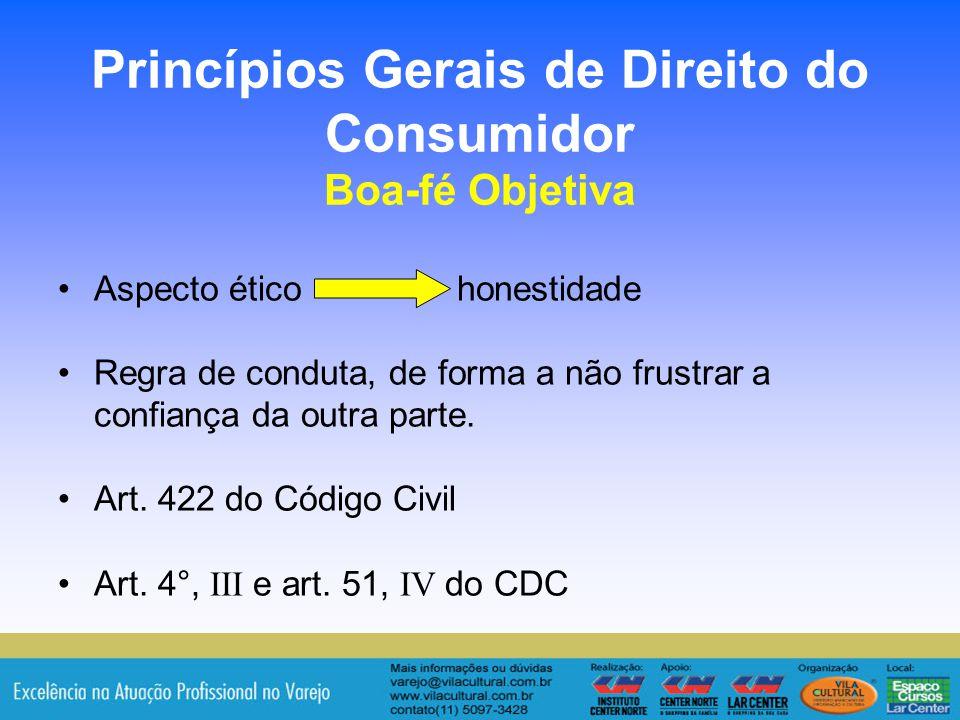 Princípios Gerais de Direito do Consumidor Boa-fé Objetiva