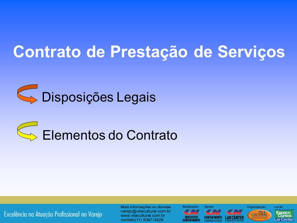 Disposições Legais Elementos do Contrato
