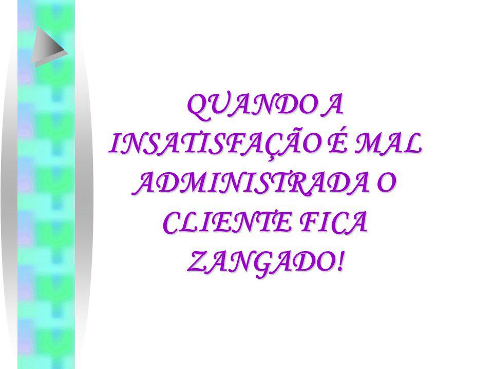 QUANDO A INSATISFAÇÃO É MAL ADMINISTRADA O CLIENTE FICA ZANGADO!