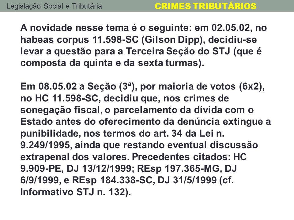 A novidade nesse tema é o seguinte: em 02. 05. 02, no habeas corpus 11