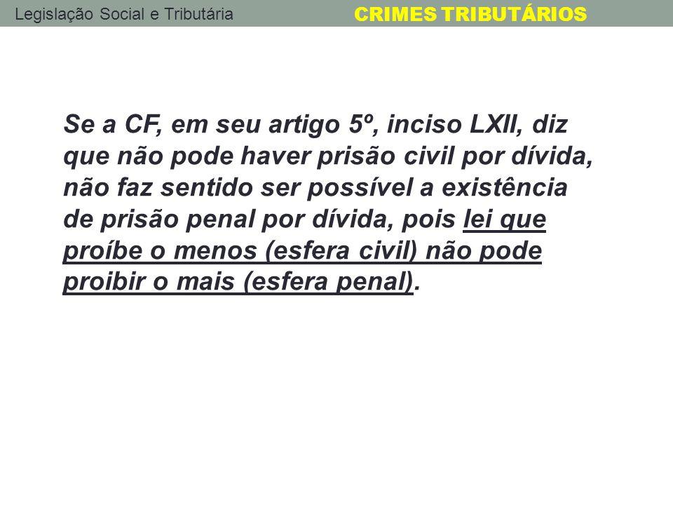 Se a CF, em seu artigo 5º, inciso LXII, diz que não pode haver prisão civil por dívida, não faz sentido ser possível a existência de prisão penal por dívida, pois lei que proíbe o menos (esfera civil) não pode proibir o mais (esfera penal).