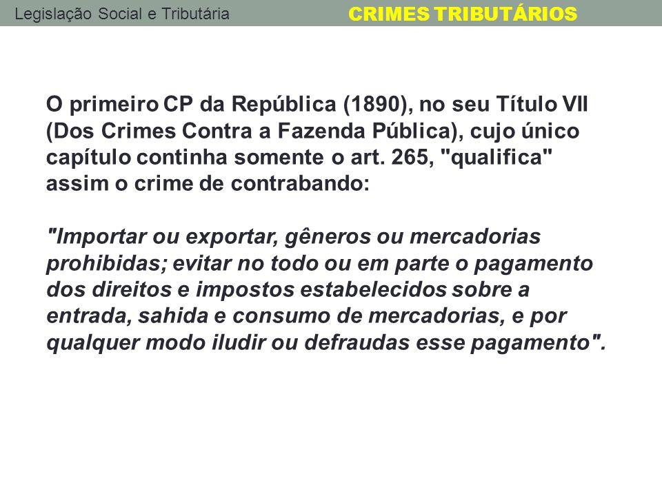 O primeiro CP da República (1890), no seu Título VII (Dos Crimes Contra a Fazenda Pública), cujo único capítulo continha somente o art. 265, qualifica assim o crime de contrabando:
