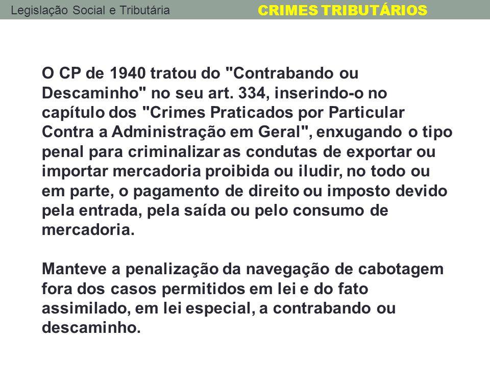 O CP de 1940 tratou do Contrabando ou Descaminho no seu art
