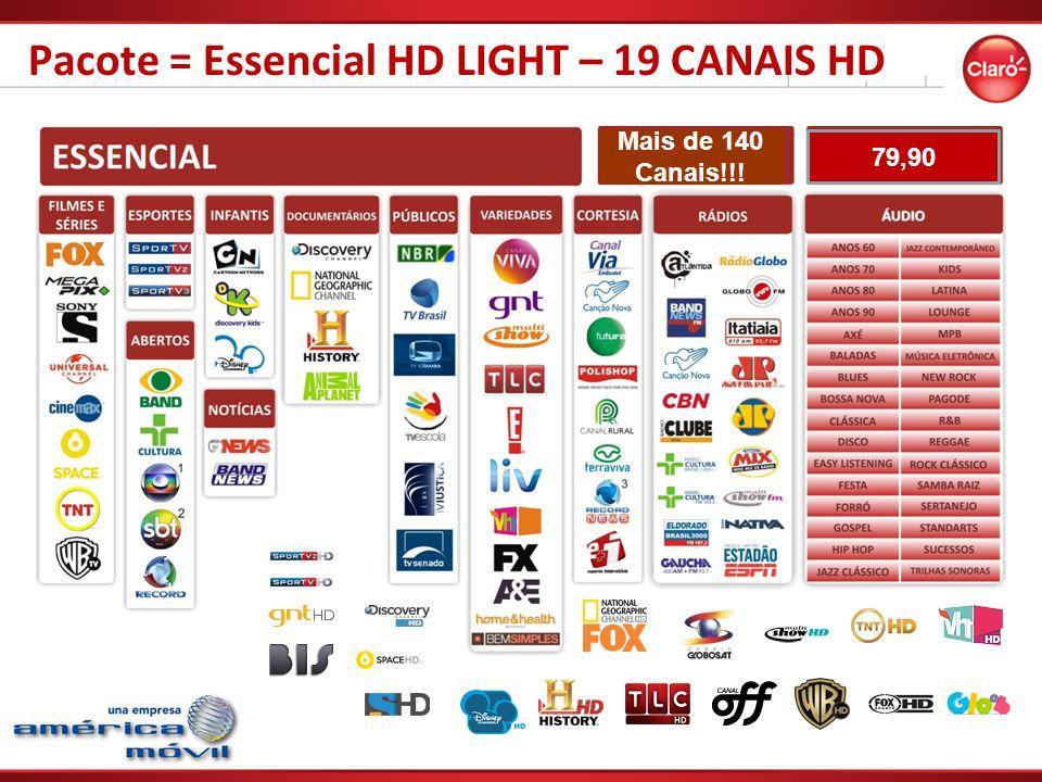 Pacote = Essencial HD LIGHT – 19 CANAIS HD