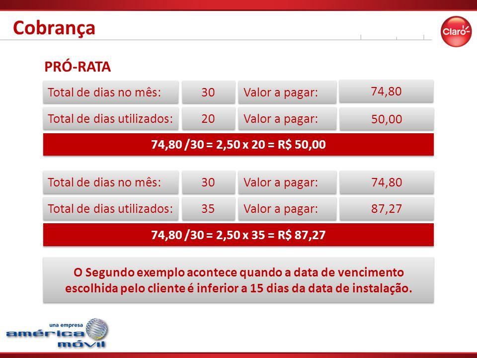 Cobrança PRÓ-RATA Total de dias no mês: 30 Valor a pagar: 74,80