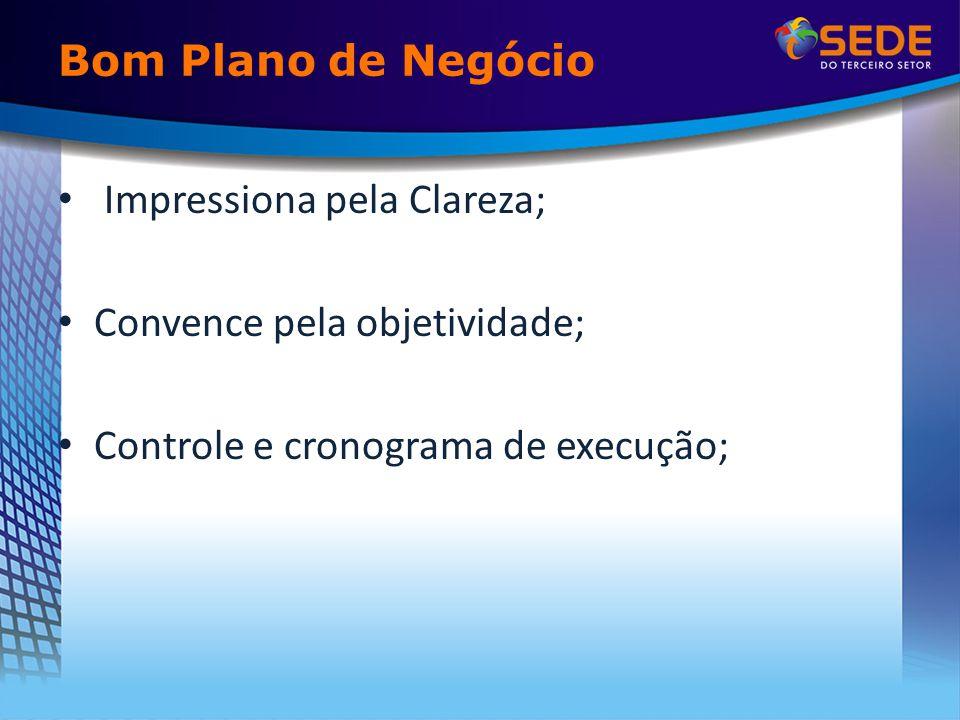 Bom Plano de Negócio Impressiona pela Clareza; Convence pela objetividade; Controle e cronograma de execução;