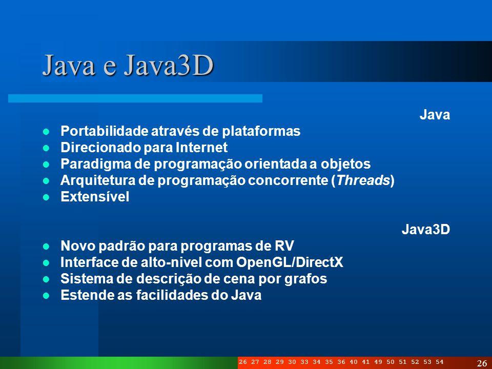 Java e Java3D Java Portabilidade através de plataformas