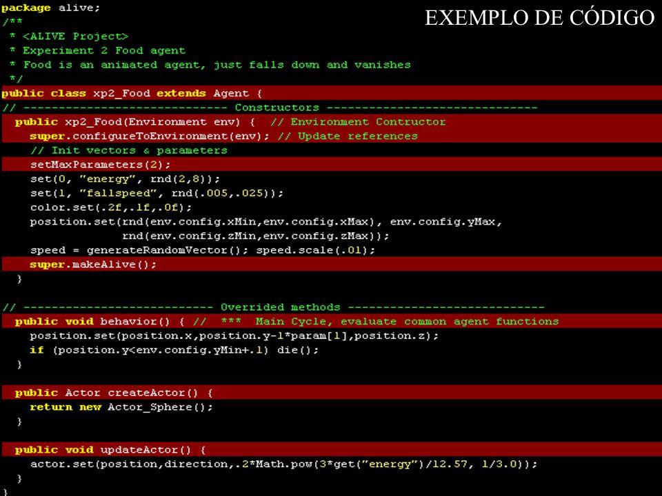 Exemplo de código EXEMPLO DE CÓDIGO Exemplo simples Comida de peixe
