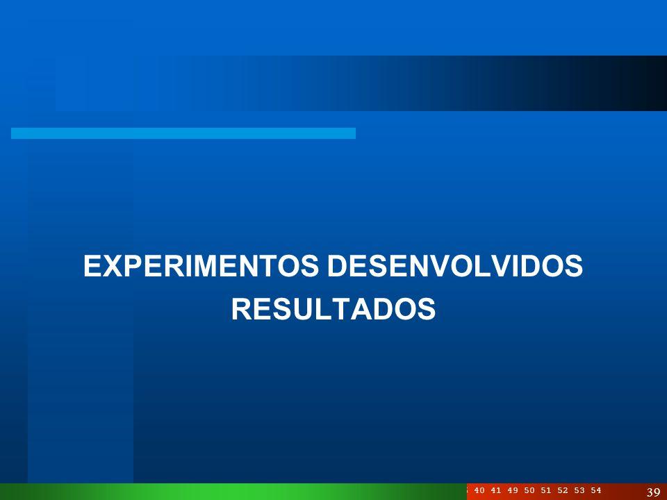 EXPERIMENTOS DESENVOLVIDOS
