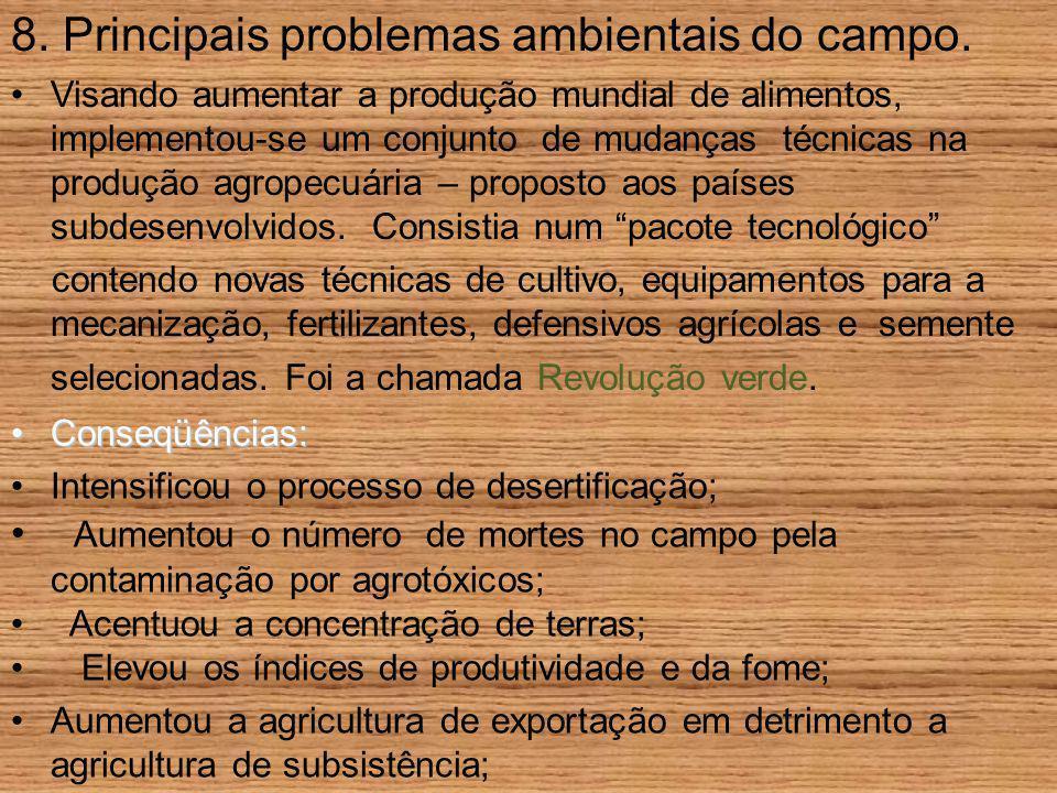 8. Principais problemas ambientais do campo.