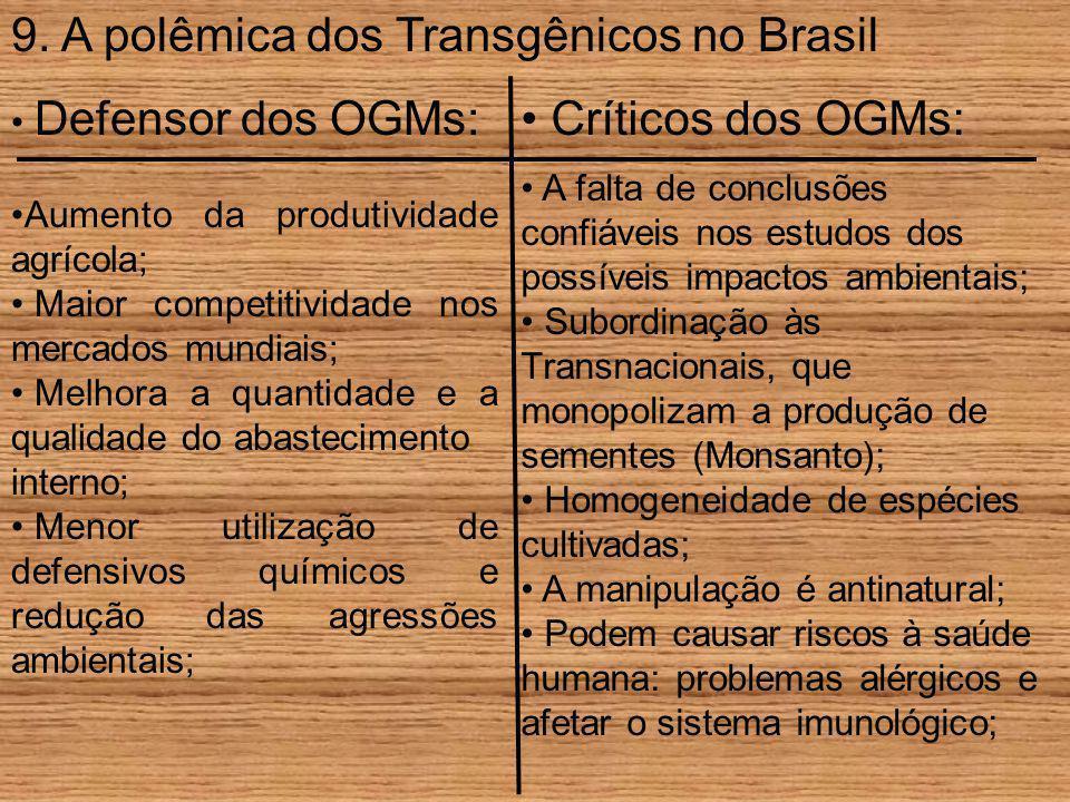 9. A polêmica dos Transgênicos no Brasil