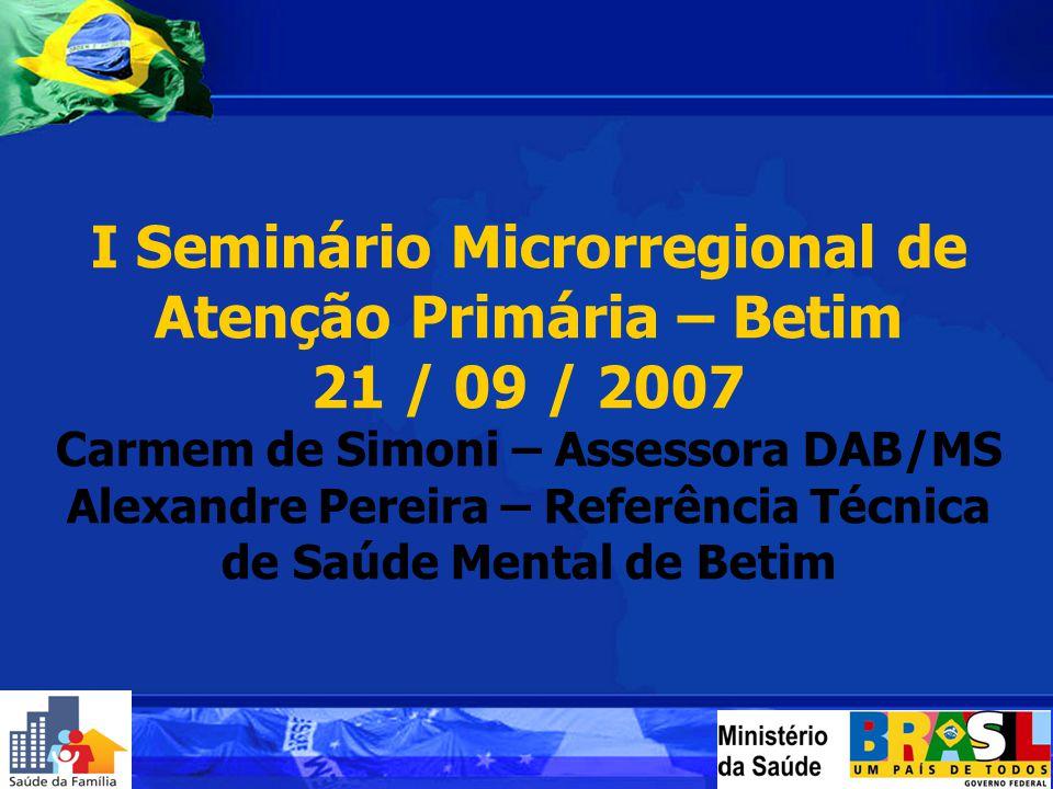 I Seminário Microrregional de Atenção Primária – Betim 21 / 09 / 2007