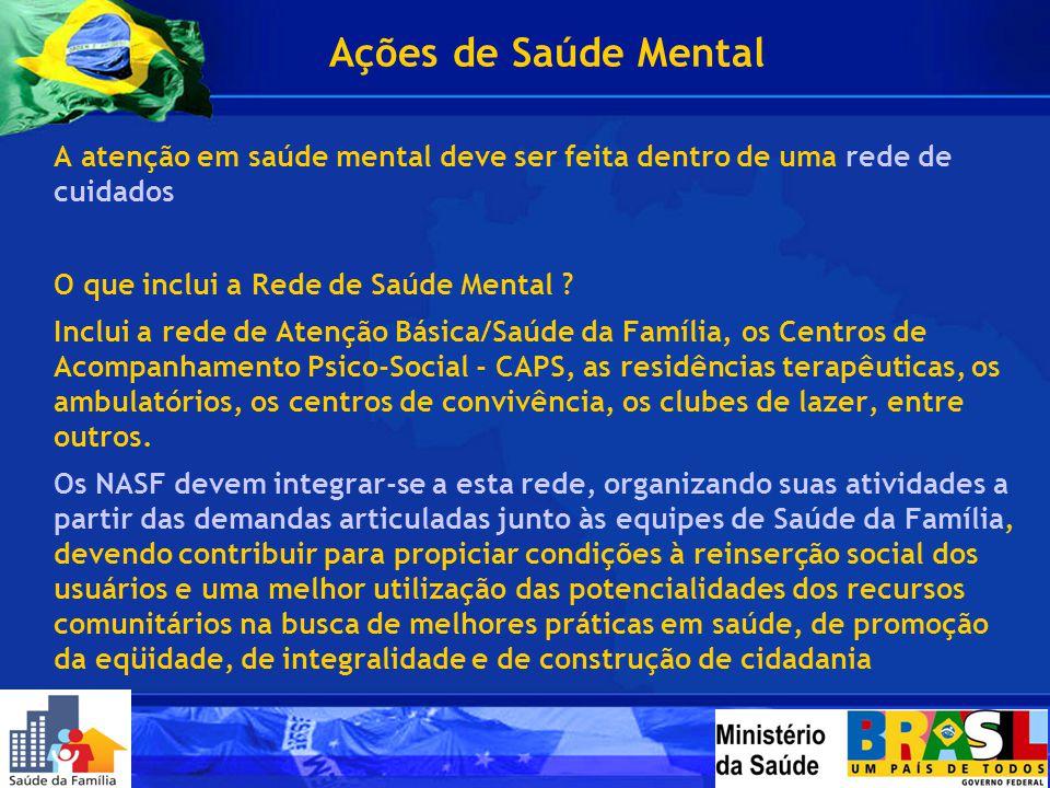 Ações de Saúde Mental A atenção em saúde mental deve ser feita dentro de uma rede de cuidados. O que inclui a Rede de Saúde Mental