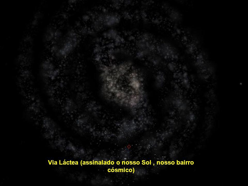 Via Láctea (assinalado o nosso Sol , nosso bairro cósmico)