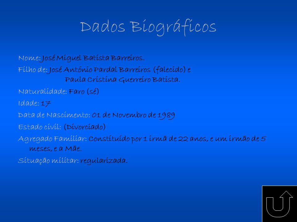 Dados Biográficos Nome: José Miguel Batista Barreiros.