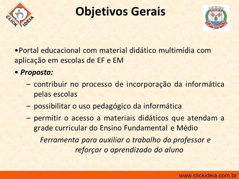 Objetivos Gerais Portal educacional com material didático multimídia com aplicação em escolas de EF e EM.