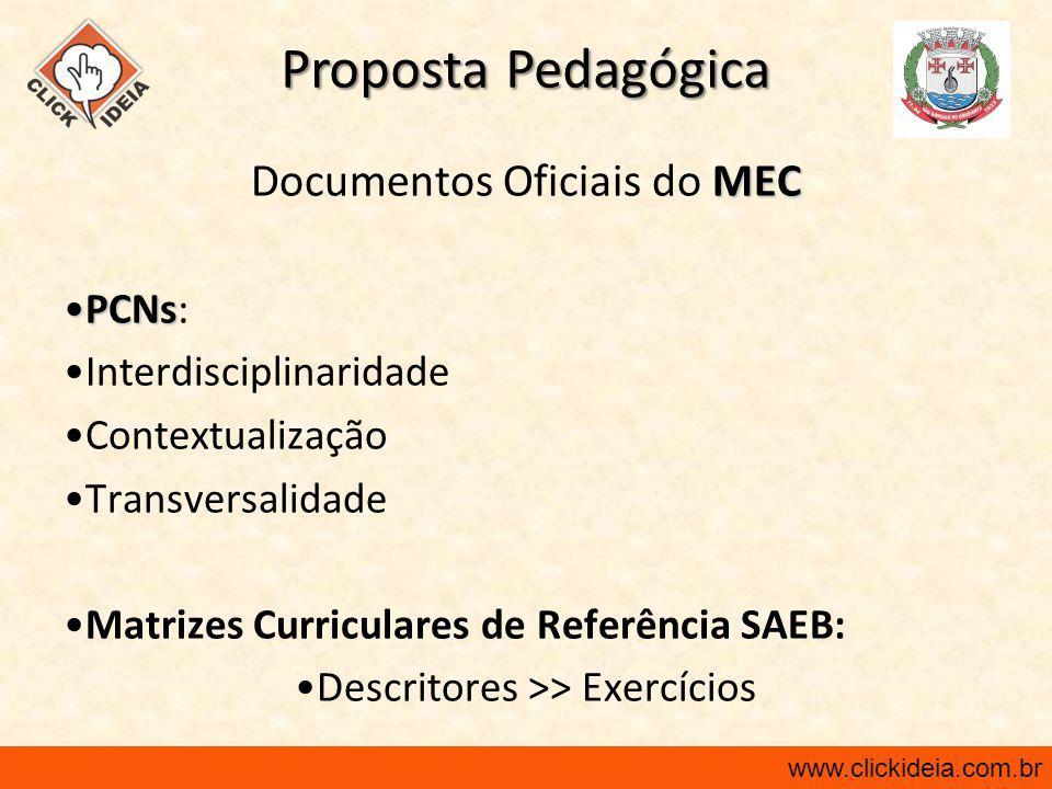 Proposta Pedagógica Documentos Oficiais do MEC PCNs: