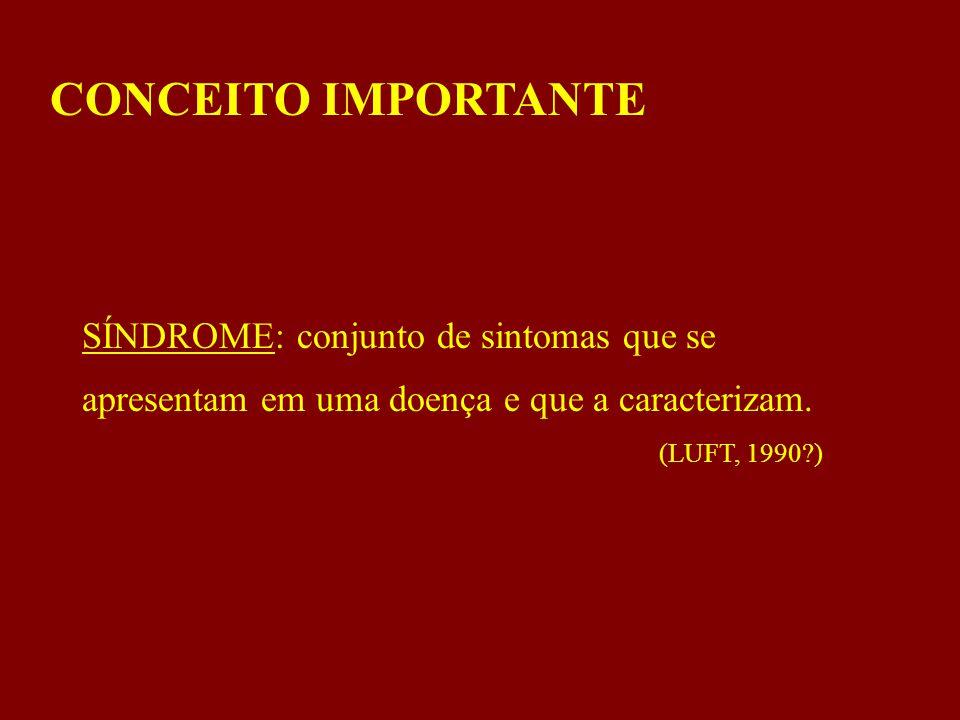 CONCEITO IMPORTANTE SÍNDROME: conjunto de sintomas que se apresentam em uma doença e que a caracterizam.