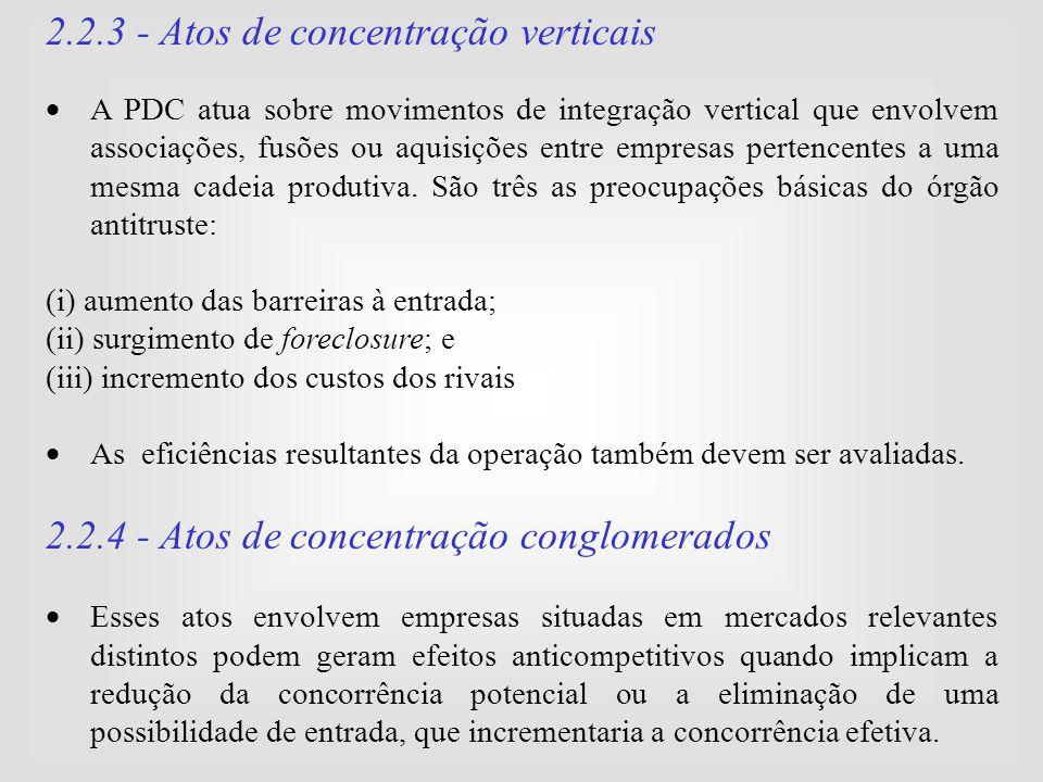 2.2.3 - Atos de concentração verticais
