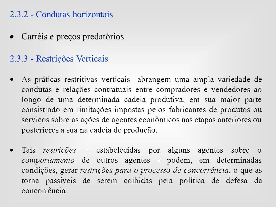2.3.2 - Condutas horizontais Cartéis e preços predatórios