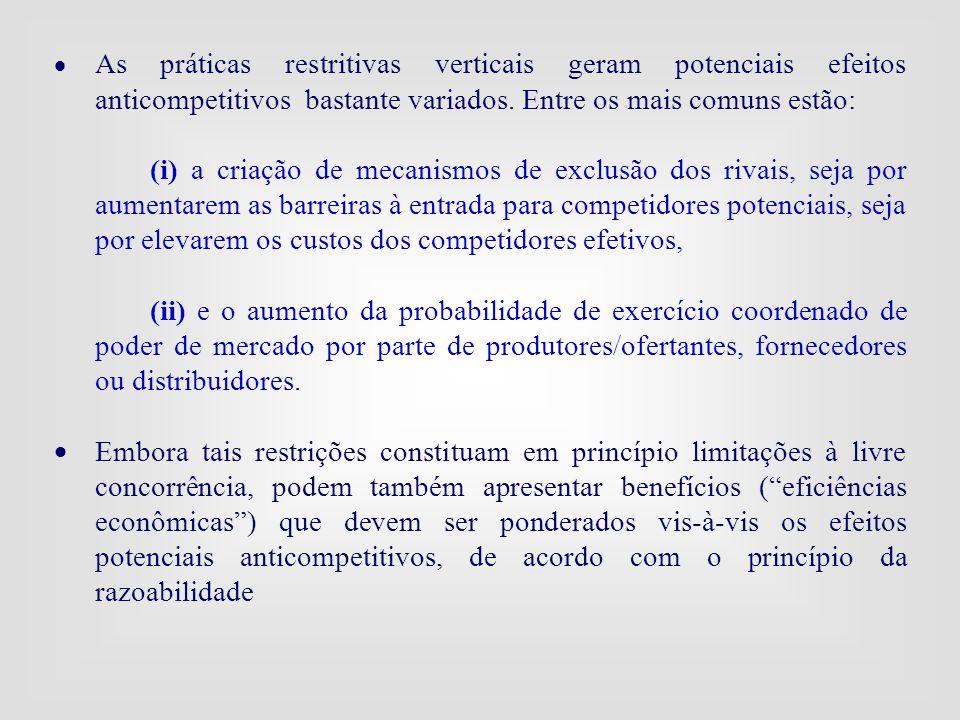 · As práticas restritivas verticais geram potenciais efeitos anticompetitivos bastante variados. Entre os mais comuns estão: