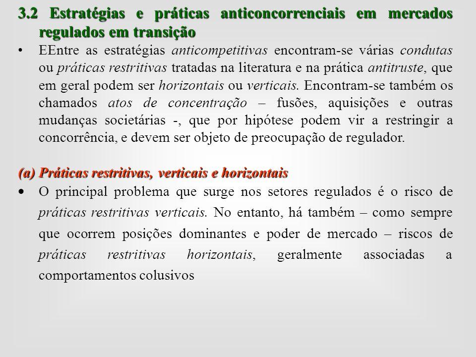 3.2 Estratégias e práticas anticoncorrenciais em mercados regulados em transição