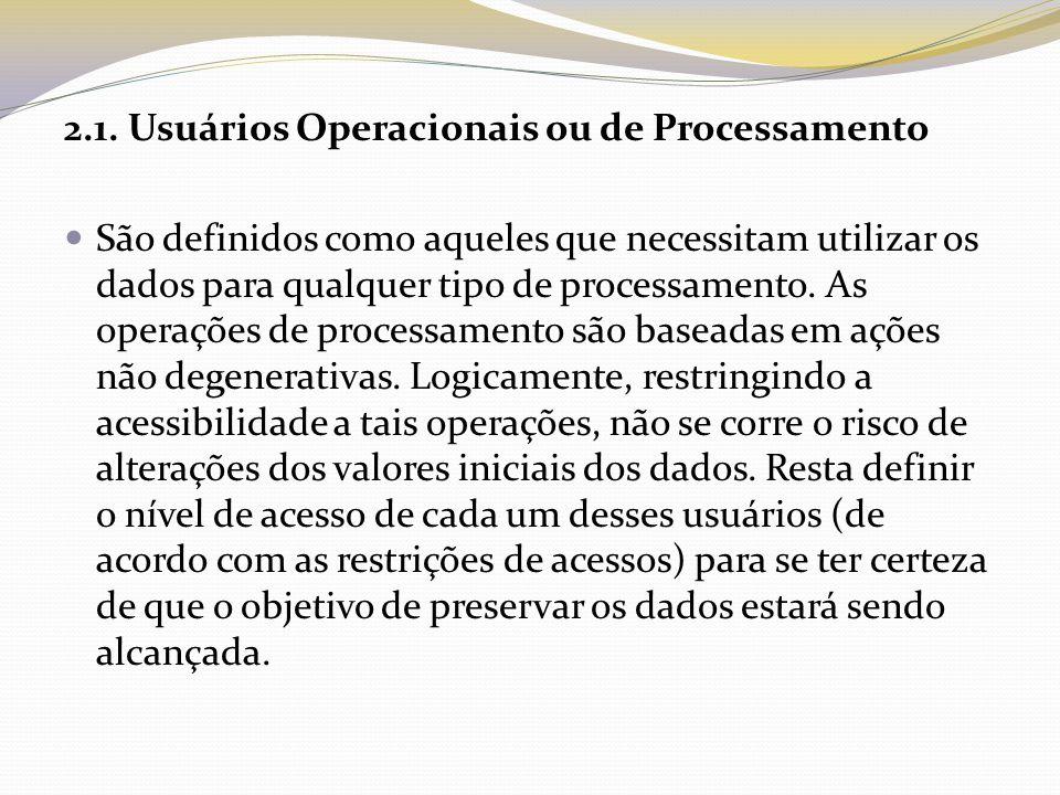 2.1. Usuários Operacionais ou de Processamento