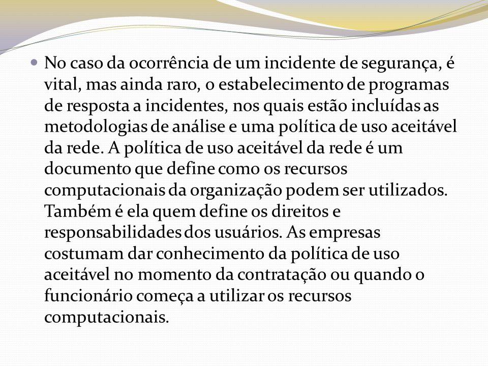 No caso da ocorrência de um incidente de segurança, é vital, mas ainda raro, o estabelecimento de programas de resposta a incidentes, nos quais estão incluídas as metodologias de análise e uma política de uso aceitável da rede.