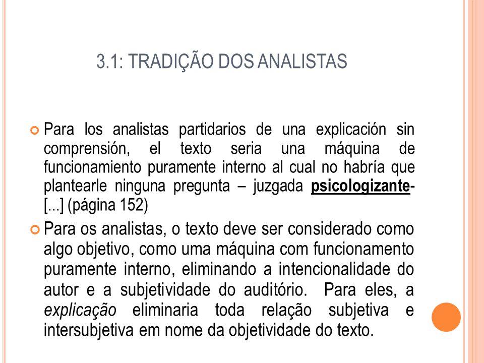 3.1: TRADIÇÃO DOS ANALISTAS