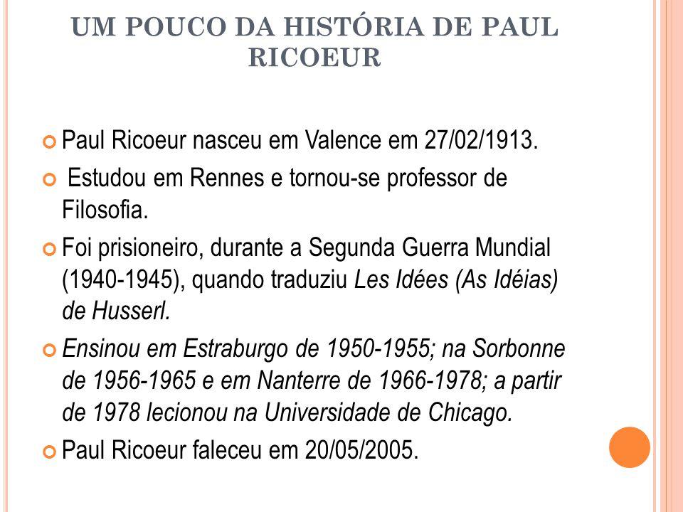 UM POUCO DA HISTÓRIA DE PAUL RICOEUR