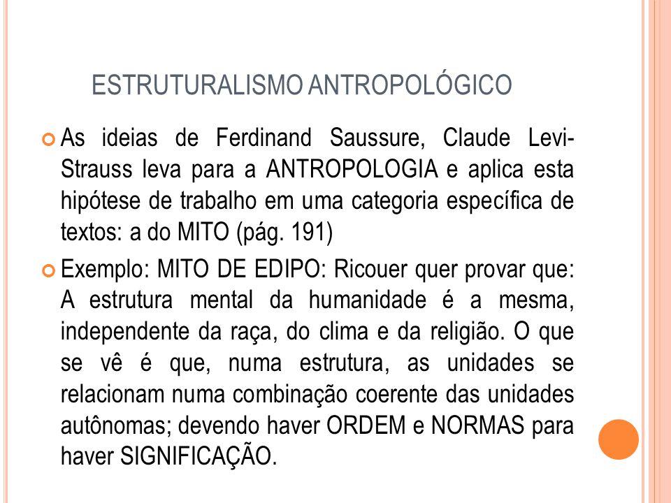 ESTRUTURALISMO ANTROPOLÓGICO