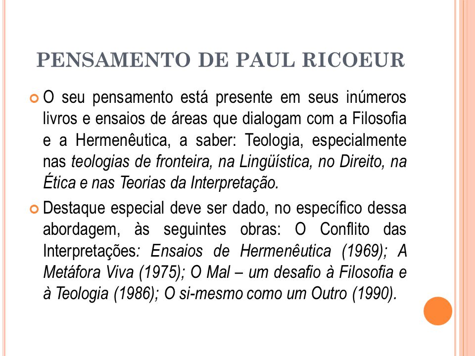 PENSAMENTO DE PAUL RICOEUR
