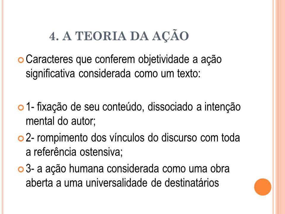 4. A TEORIA DA AÇÃO Caracteres que conferem objetividade a ação significativa considerada como um texto: