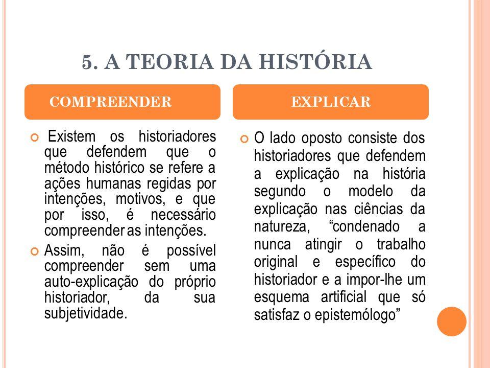 5. A TEORIA DA HISTÓRIA COMPREENDER. EXPLICAR.