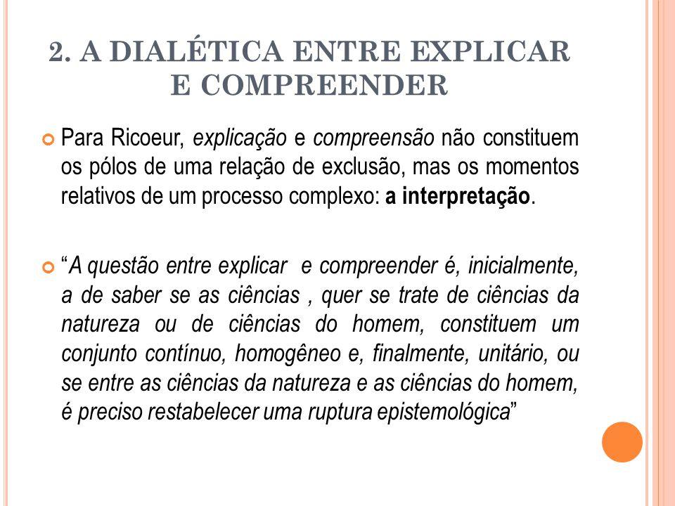 2. A DIALÉTICA ENTRE EXPLICAR E COMPREENDER