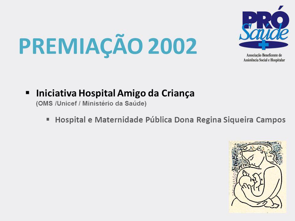 PREMIAÇÃO 2002 Iniciativa Hospital Amigo da Criança